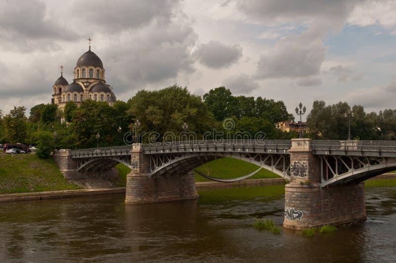 Ponte de Zverynas em Vilnius, Lituânia fotos de stock