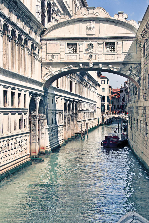 Ponte dei Sospiri - Venice, Italy. The famous overhead bridge built in the XVII century was for long a causeway between freedom and incarceration as it connected stock photo