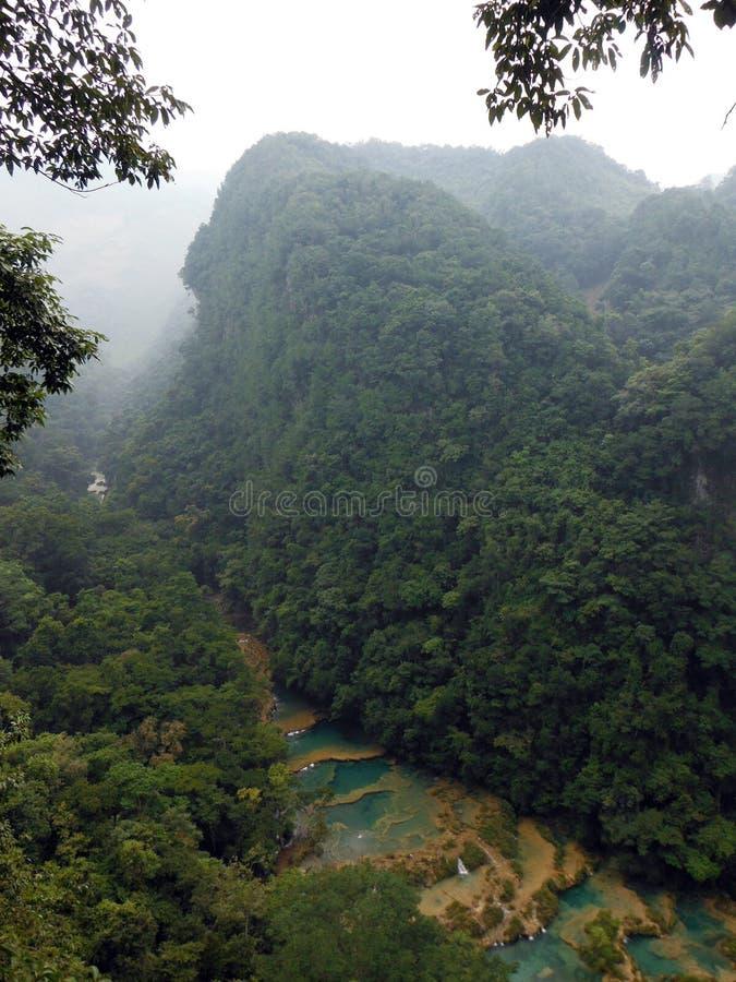 Ponte del calcare di Semuc Champey in giungla immagini stock