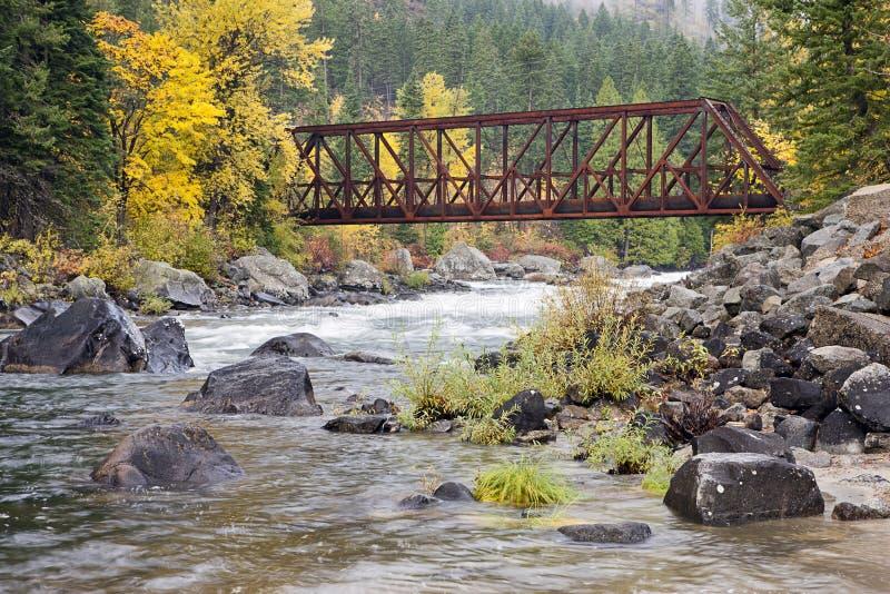 Ponte del canyon di Tumwater fotografia stock