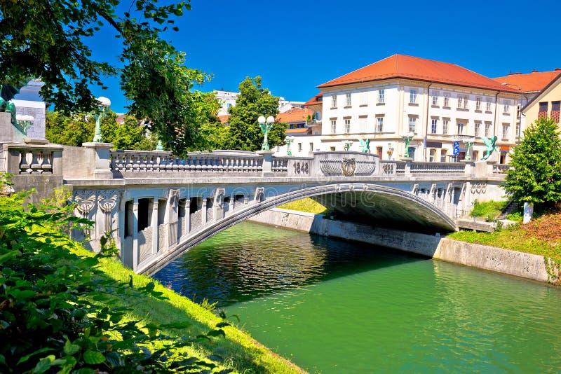 Ponte del drago e vista del fiume di Ljubljanica immagini stock