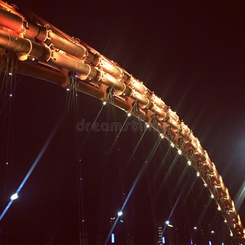 Ponte del drago nella città di Danang & in x28; Vietnam& x29; alla notte fotografie stock