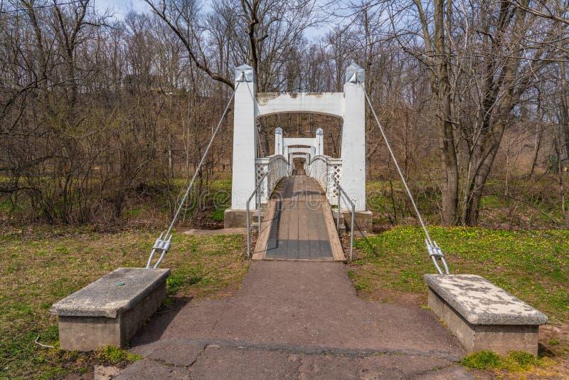 Ponte del percorso del piede della sospensione del cavo fotografia stock