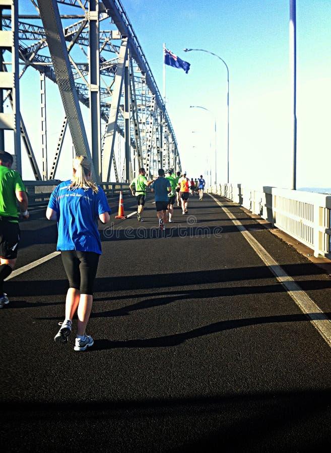 Ponte del porto dei corridori maratona di Auckland immagini stock libere da diritti