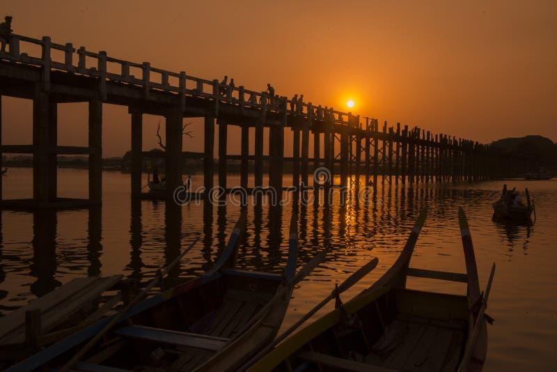 PONTE DELL'ASIA MYANMAR MANDALAY AMARAPURA U BEIN fotografia stock
