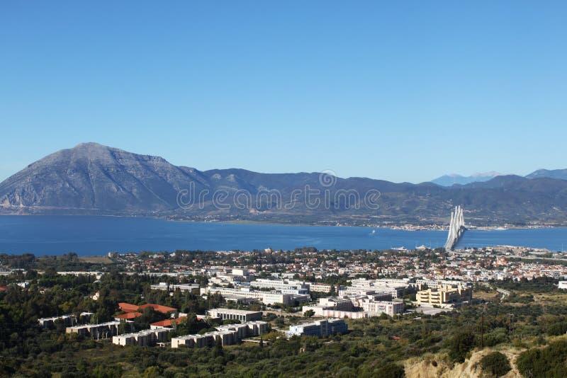 Ponte dell'università e di Rio-Antirrio di Patrasso immagini stock