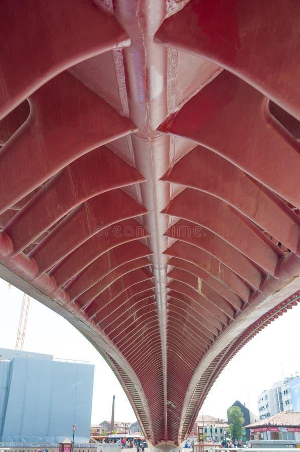 Ponte della Costituzione, Calatrava Bridge, Venice. Bottom of the Ponte della Costituzione, also known as Calatrava Bridge, Venice stock images