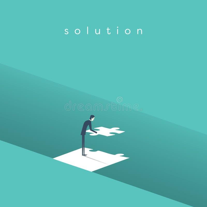 Ponte della costruzione dell'uomo d'affari sopra la lacuna con il puzzle come simbolo del concetto della soluzione di affari illustrazione vettoriale