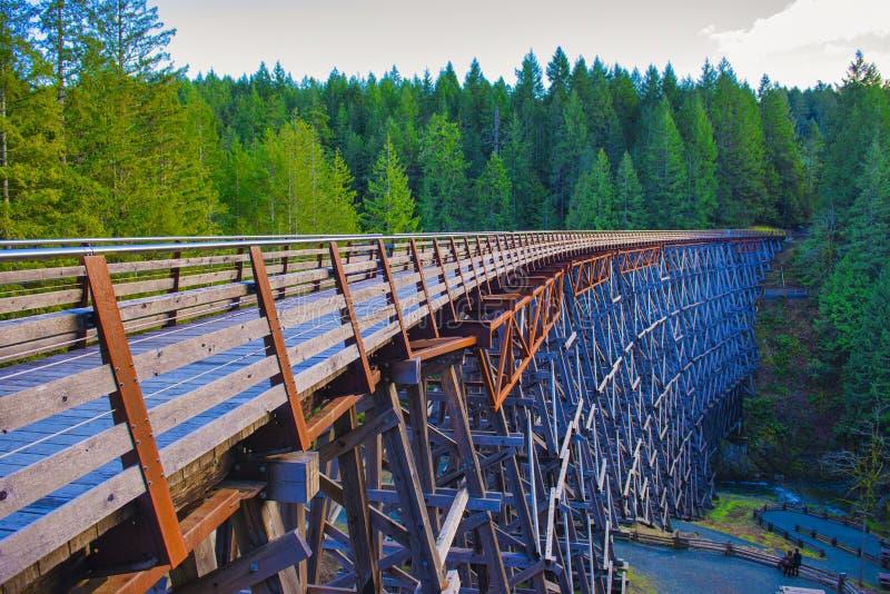 Ponte della ferrovia del cavalletto di Kinsol nell'isola di Vancouver, BC Canada immagini stock