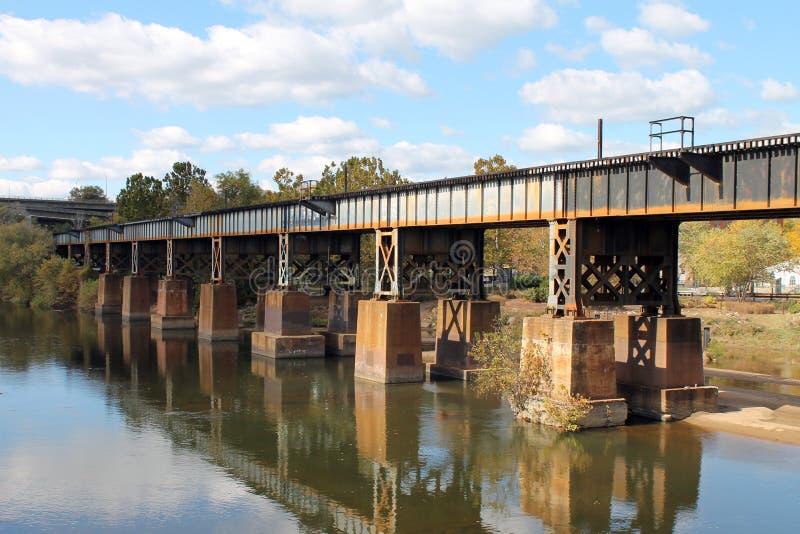 Ponte della ferrovia sopra James River a Richmond fotografia stock libera da diritti