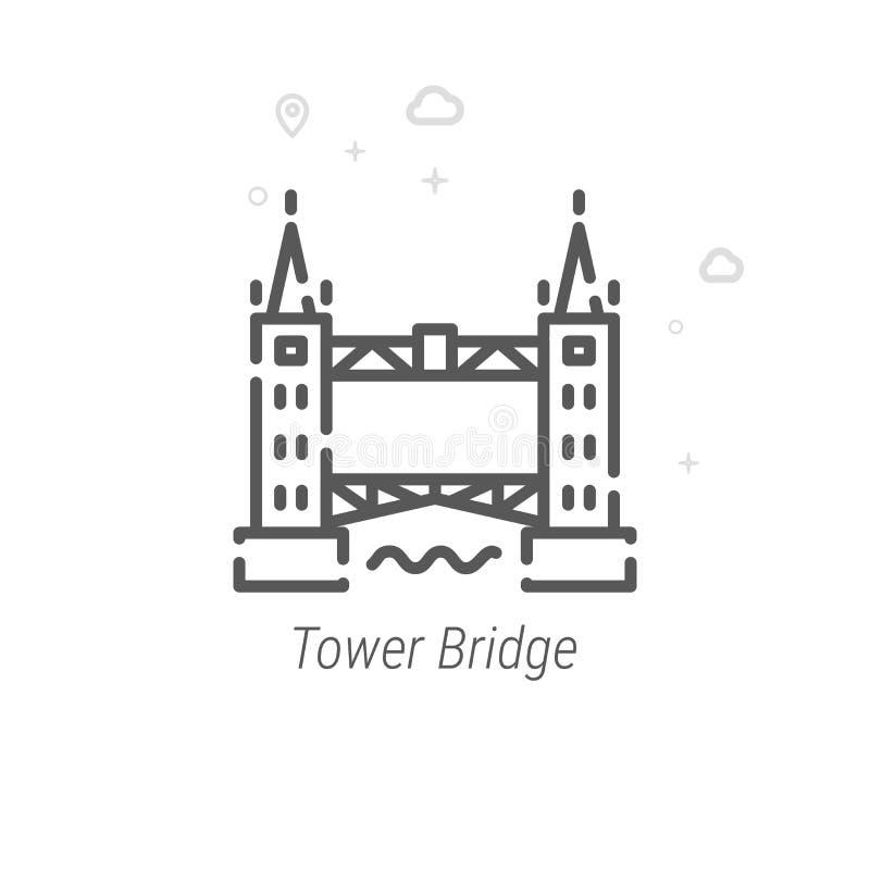 Ponte della torre, linea icona, simbolo, pittogramma, segno di vettore di Londra Fondo geometrico astratto leggero Colpo editabil illustrazione di stock