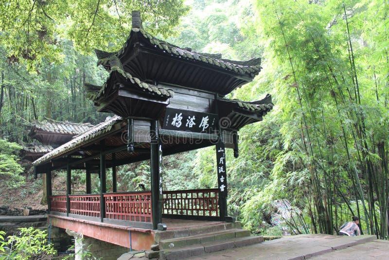 ponte della Vento-pioggia in mt Emei immagine stock libera da diritti