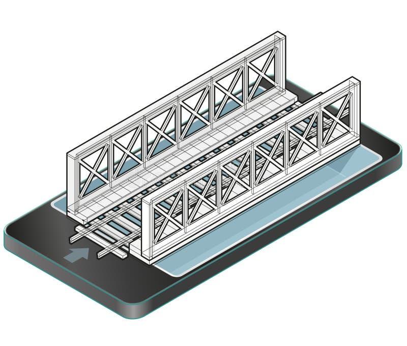 Ponte descritto del treno di vettore in telefono cellulare, pianificazione isometrica della costruzione 3d del ponte ferroviario illustrazione di stock