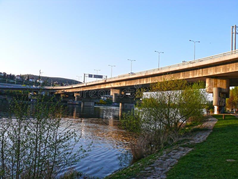 Ponte di Barrandov, Praga, repubblica Ceca fotografia stock libera da diritti