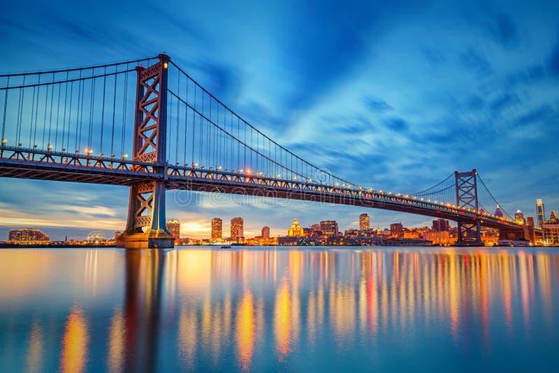 Ponte di Ben Franklin in Filadelfia immagini stock
