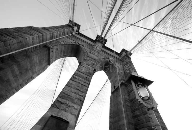 Ponte di Brooklyn 3 grandangolari immagine stock libera da diritti