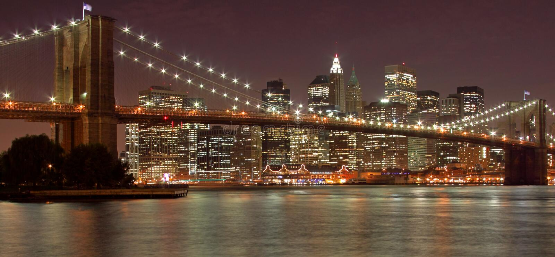 Ponte di Brooklyn & New York City fotografia stock