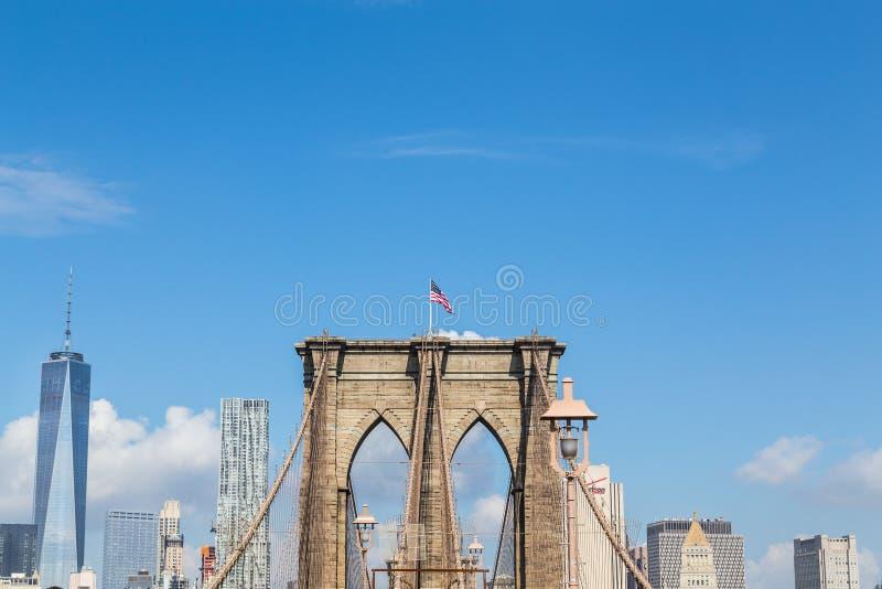 Ponte di Brooklyn e del centro immagine stock libera da diritti