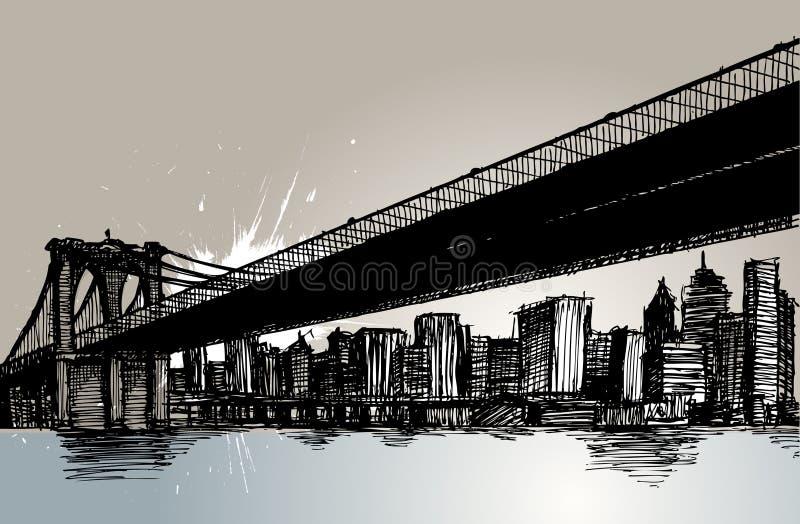 Ponte di Brooklyn e New York City illustrazione di stock