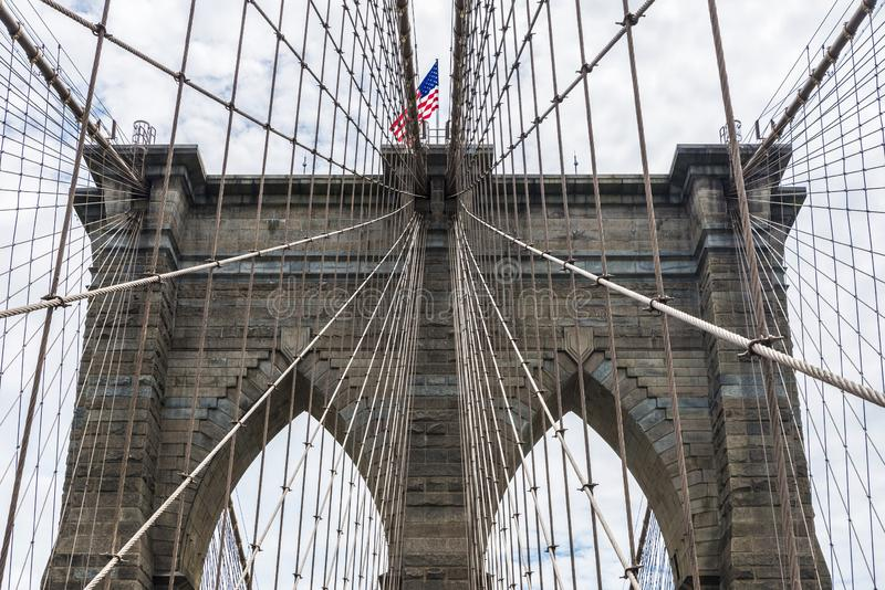 Ponte di Brooklyn in New York, U.S.A. immagini stock libere da diritti