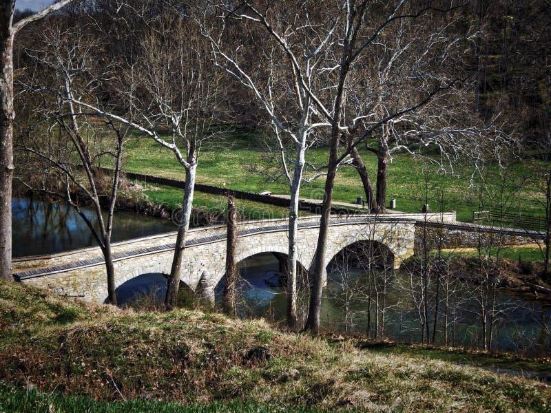 Ponte di Burnside, campo di battaglia nazionale di Antietam, Maryland fotografie stock