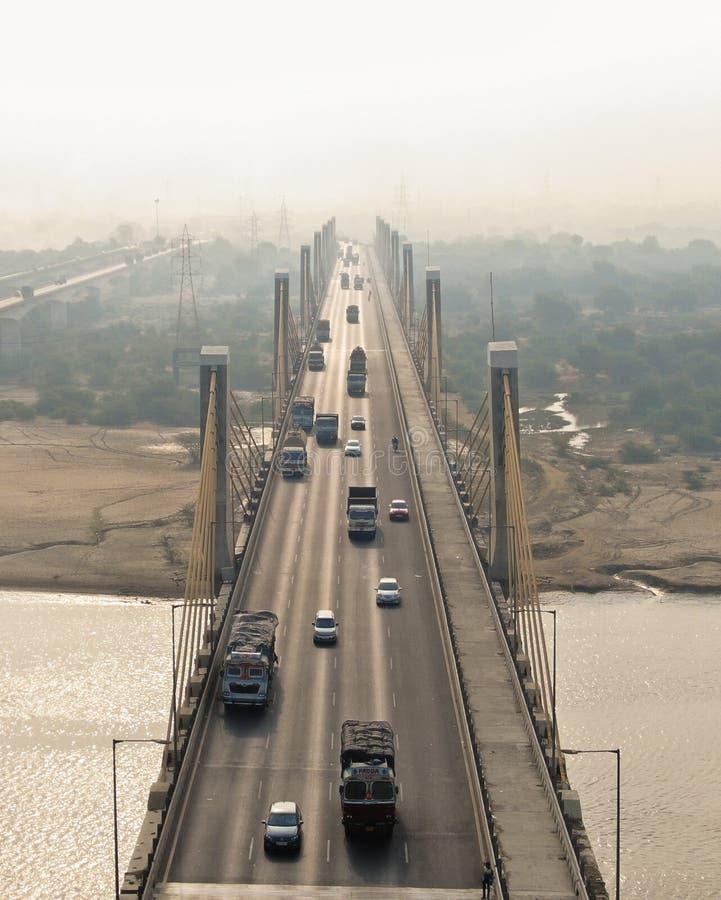 Ponte di cavo Bharuch fotografie stock libere da diritti