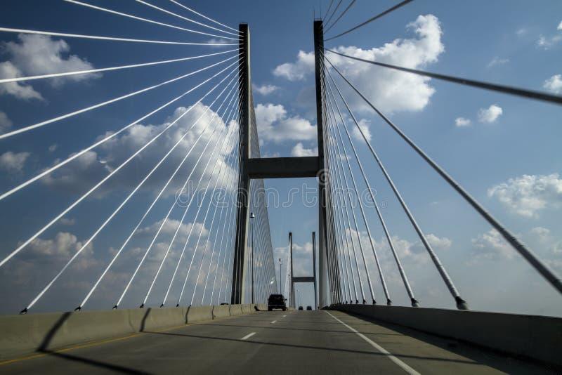 Ponte di cavo dell'isola di Jekyll Georgia fotografia stock