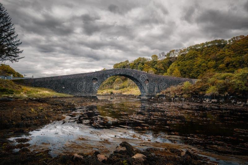 Ponte di Clachan che collega la Scozia all'isola di Seil fotografie stock