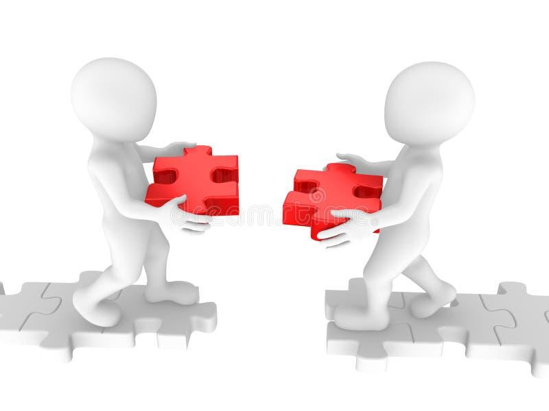 Ponte di configurazione della gente bianca dai pezzi di puzzle illustrazione di stock