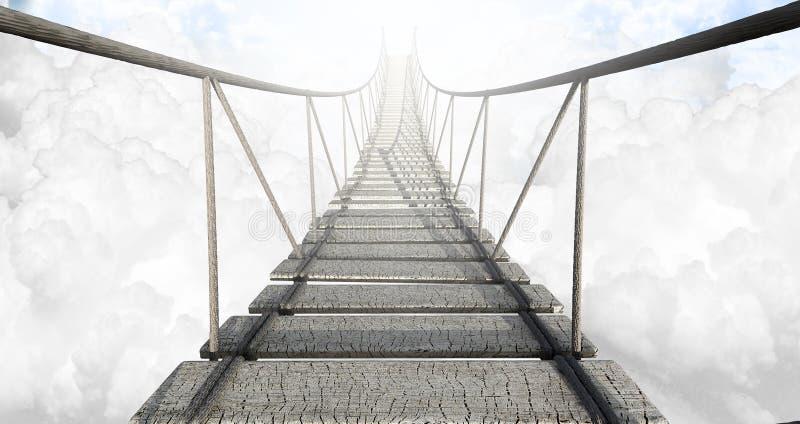 Ponte di corda sopra le nuvole fotografia stock libera da diritti