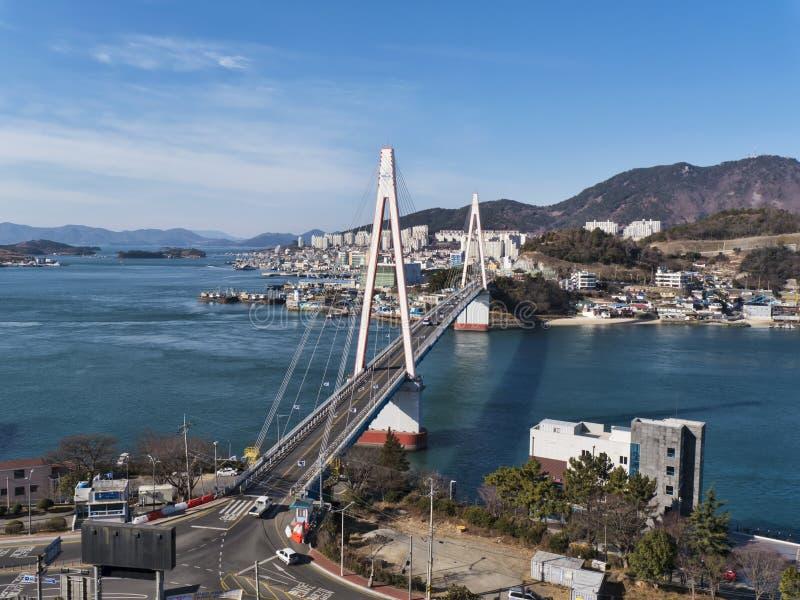 Ponte di Dolsan Città di Yeosu fotografie stock libere da diritti
