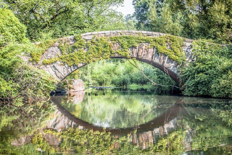 Ponte di Gapstow che riflette in acqua in Central Park fotografia stock