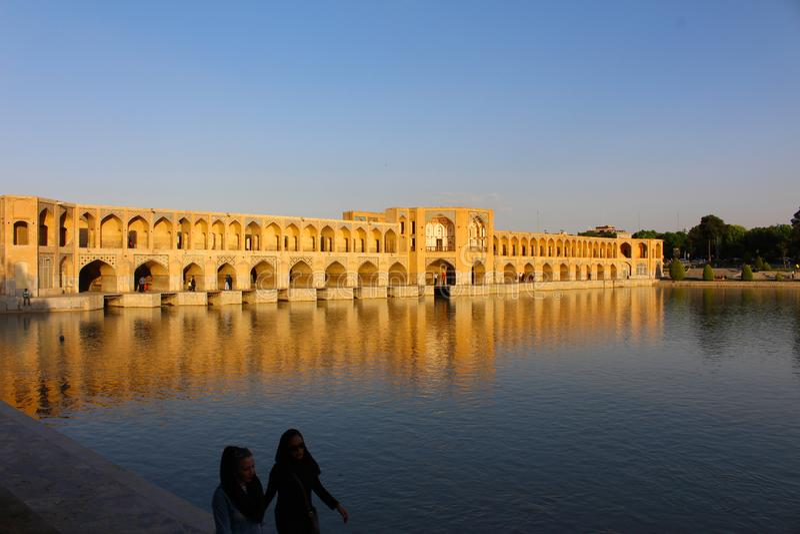 Ponte di Khaju a Ispahan, Iran fotografie stock libere da diritti