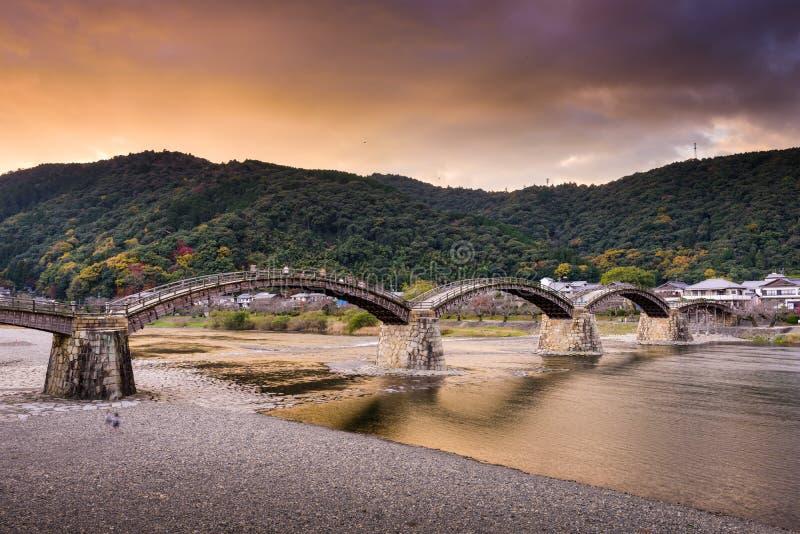 Ponte di Kintaikyo di Iwakuni, Giappone fotografia stock