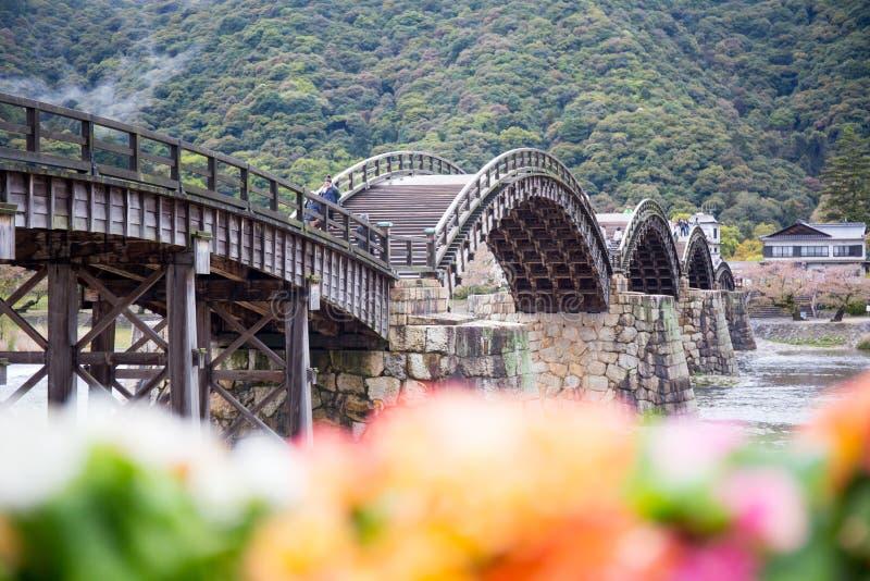 Ponte di Kintaikyo Iwakuni Giappone immagini stock