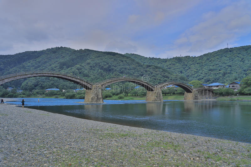 Ponte di Kintaikyo in Iwakuni, Hiroshima, Giappone fotografie stock