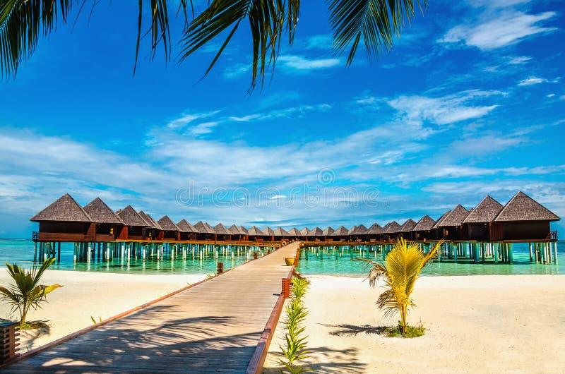 Ponte di legno che conduce ad un bungalow esotico sui precedenti di acqua azzurrata, Maldive fotografia stock