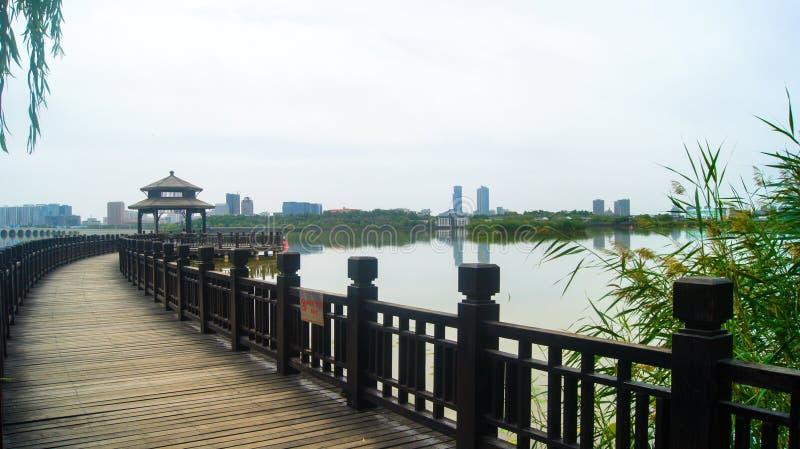 Ponte di legno che entra in Waterscape fotografia stock