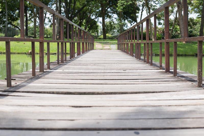 Ponte di legno del piede nel parco con gli alberi immagini stock