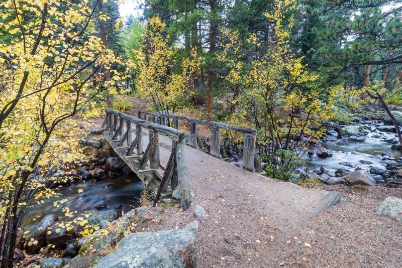 Ponte di legno del piede sopra la corrente fotografie stock