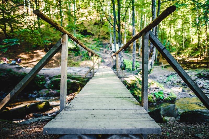 Ponte di legno sopra un piccolo fiume immagini stock