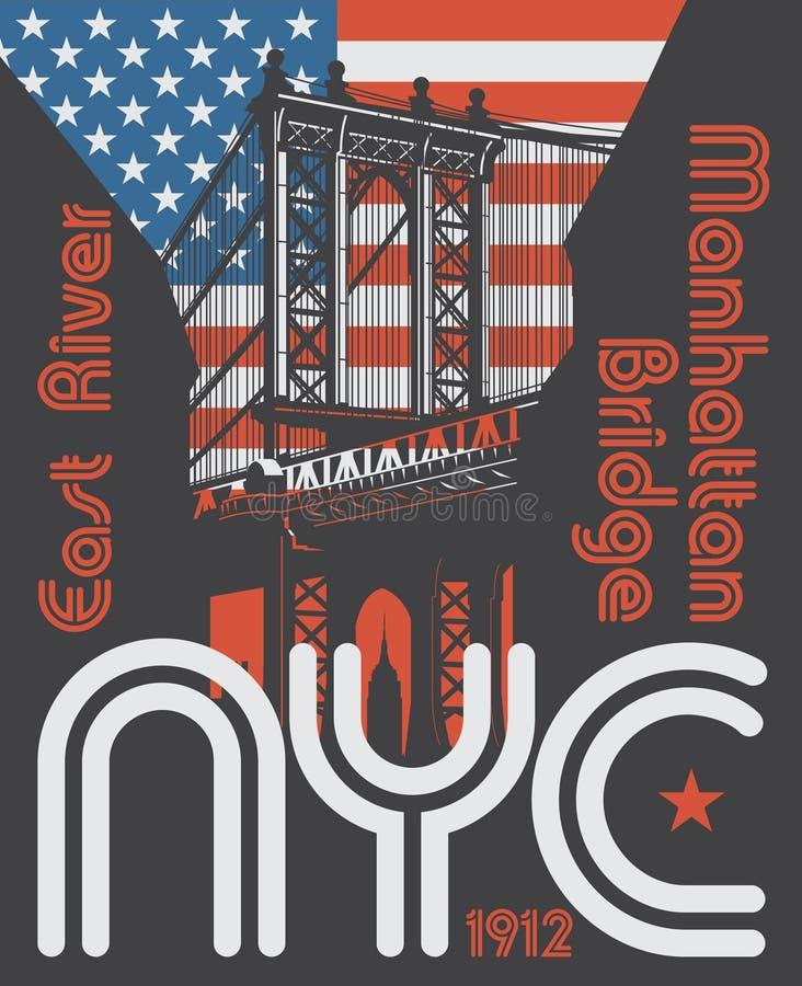 Ponte di Manhattan, New York City, siluetta illustrazione di stock