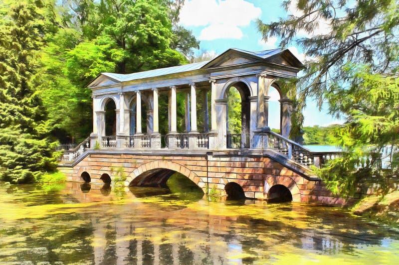 Ponte di marmo fra il Bolshoi e gli stagni del cigno illustrazione di stock