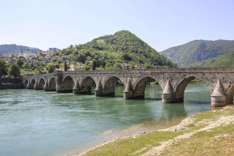 Ponte di Mehmed Pasa Sokolovic a Visegrad, Bosnia-Erzegovina fotografie stock