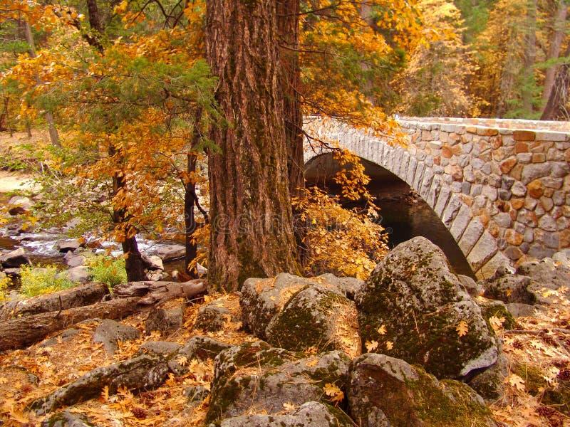 Ponte di pietra di parco nazionale di Yosemite in autunno immagini stock
