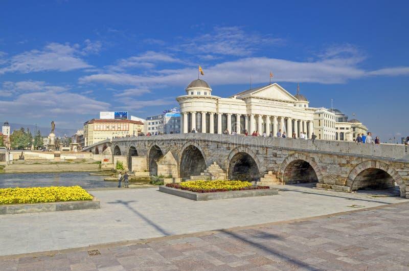 Ponte di pietra - Skopje, Macedonia fotografia stock libera da diritti