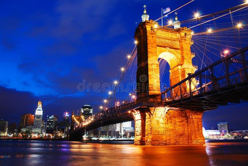 Ponte di Roebling, Cincinnati fotografia stock
