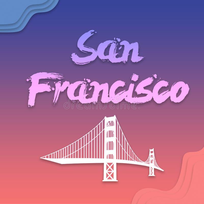 Ponte di San Francisco e passare iscrizione scritta per la carta, calligrafia moderna della spazzola di clipart piano Isolato su  royalty illustrazione gratis