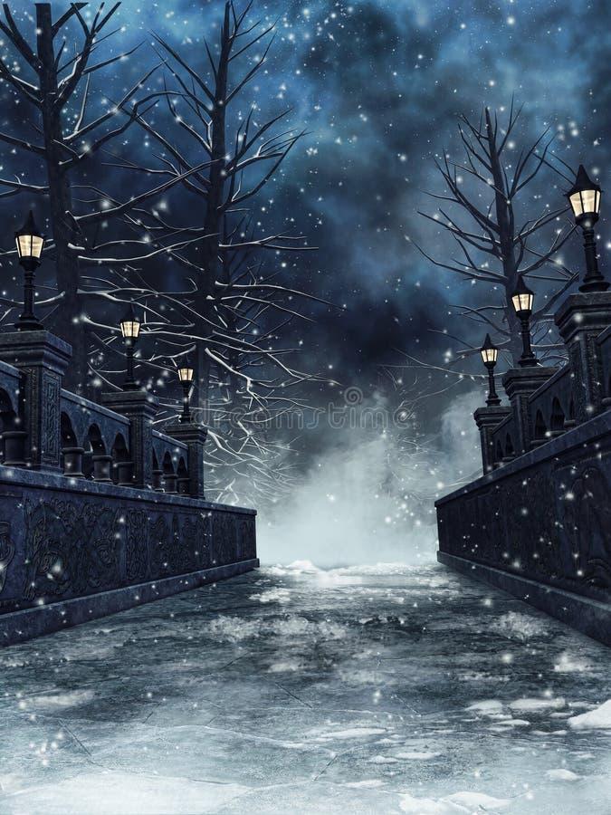Ponte di Snowy con le lanterne gotiche illustrazione vettoriale