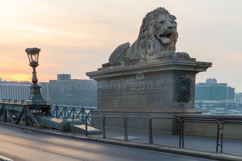 Ponte di Szechenyi a Budapest Ungheria Il bello Danubio Vista di notte fotografie stock